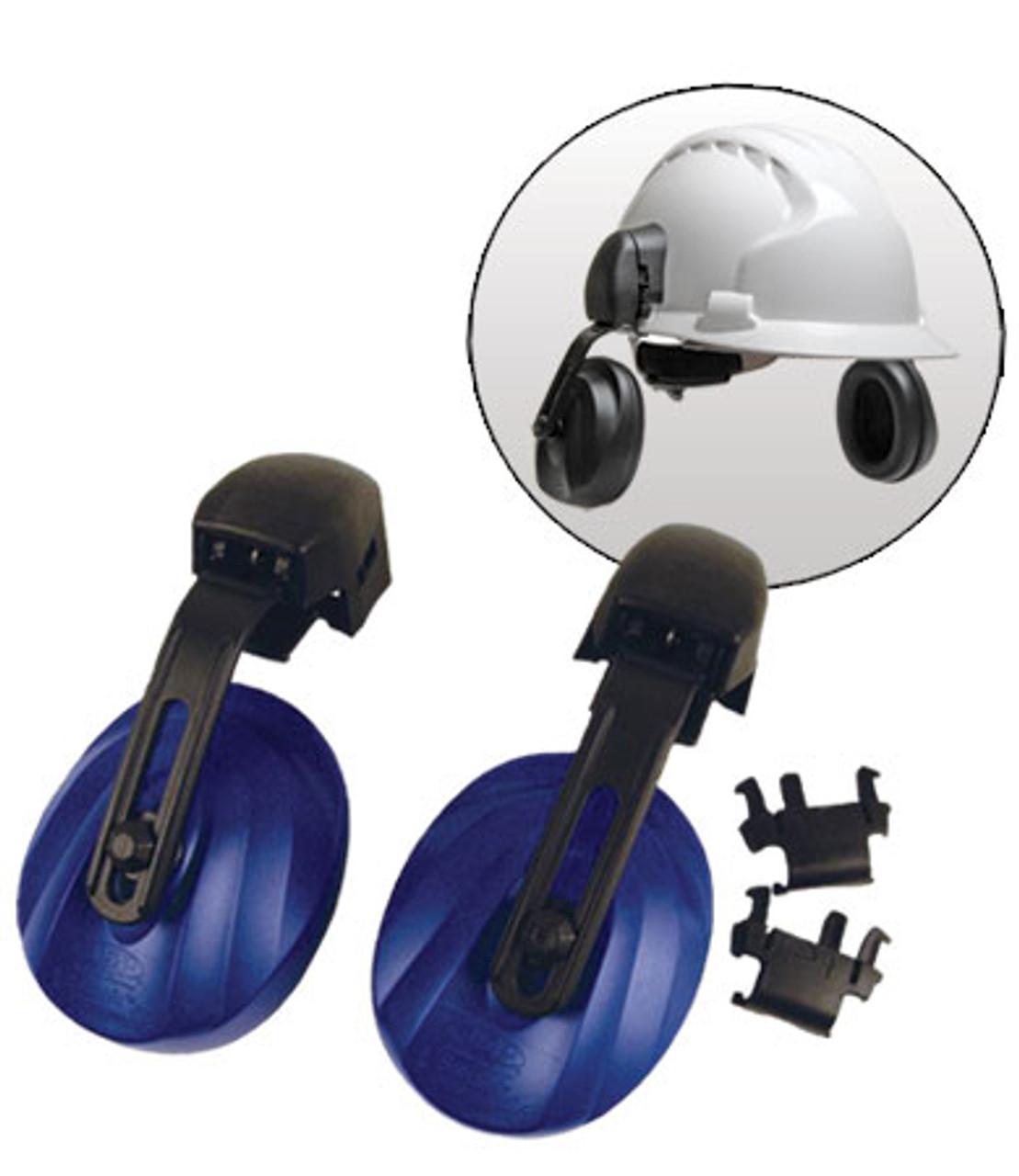 Easy Fit Contour Helmet Mounted Ear Muffs, Blue