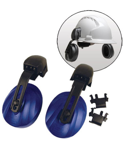 Easy Fit Contour Helmet Mounted Ear Muffs, Blue