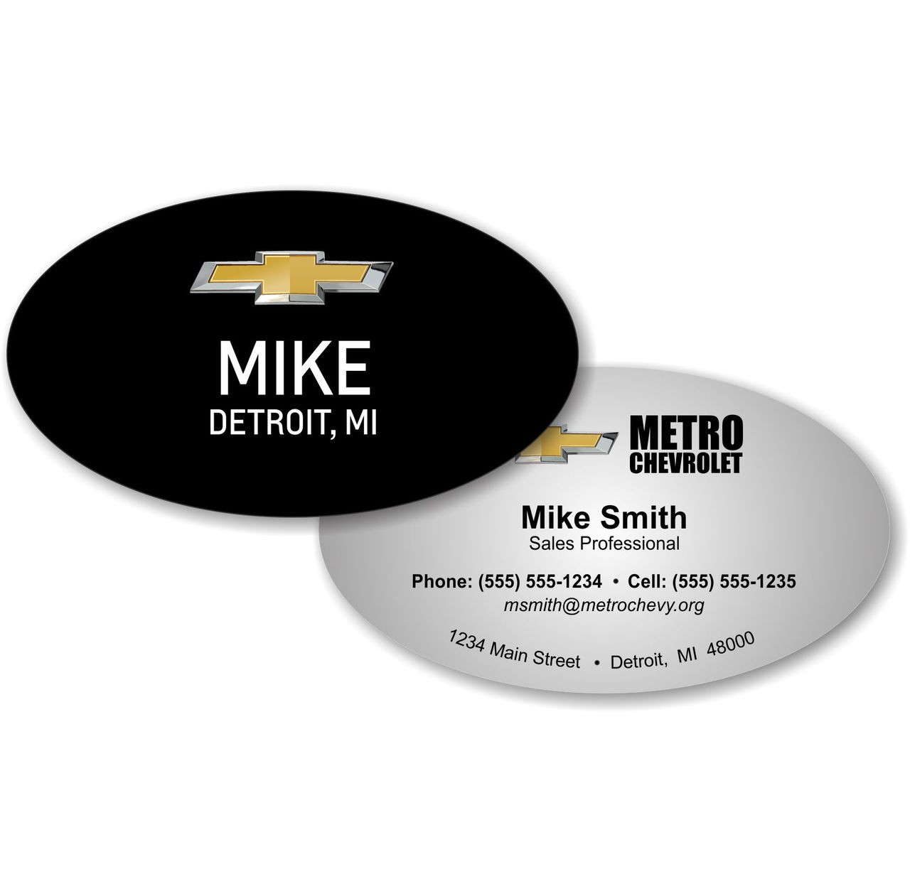 Chevrolet oval business card oval cards chevrolet oval business card colourmoves