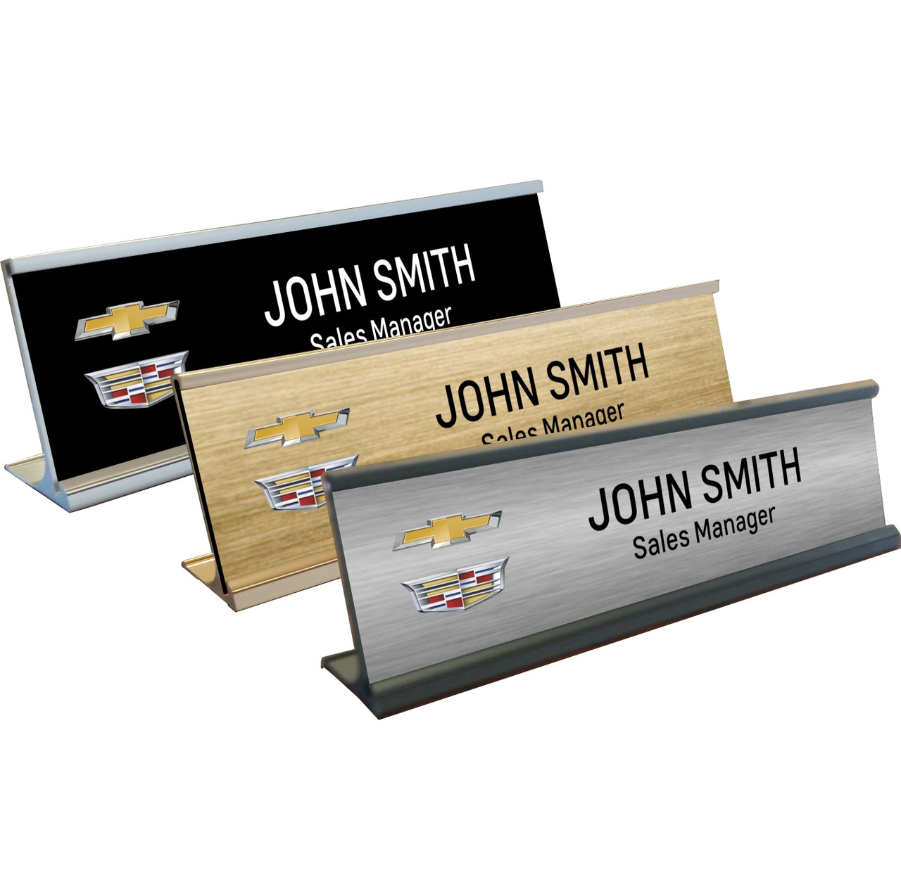 Chevrolet Cadillac Name Plates with Aluminum Desk Holder - Chevrolet ...