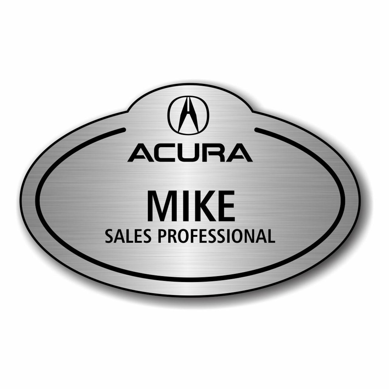 Acura Bubble Top Brushed Aluminum Name Badge - Acura badge