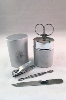 Brushed Silver Manicure set- / DOS Engraved