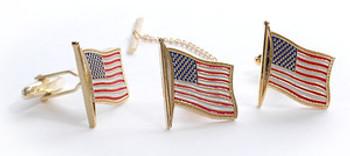 U.S. FLAG TIE TACK & CUFF LINK SET