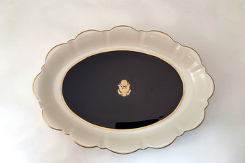 Pickard Cobalt Blue Large Oval Mint Dish Great Seal