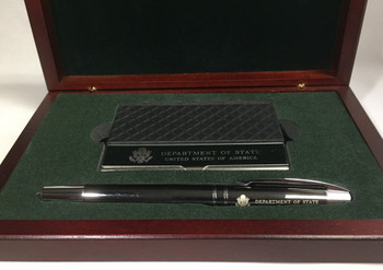 Roller Ball Gun Metal Pen w/ Case