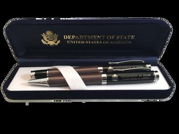 Set of 2 Executive DOS Black Glass Fiber Finish Pen With Velvet Box