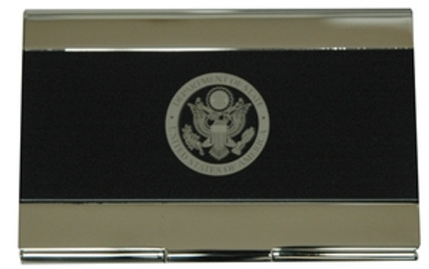 Matte Black/Brass-Coated Business Card Holder with Laser Engraved DOS Logo