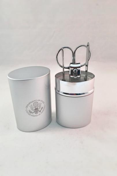 Brushed Silver Manicure set- / DOS Engraved