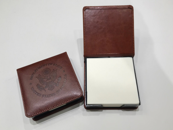 Square Brown Leather Memo Box with Notepaper/ DOS logo