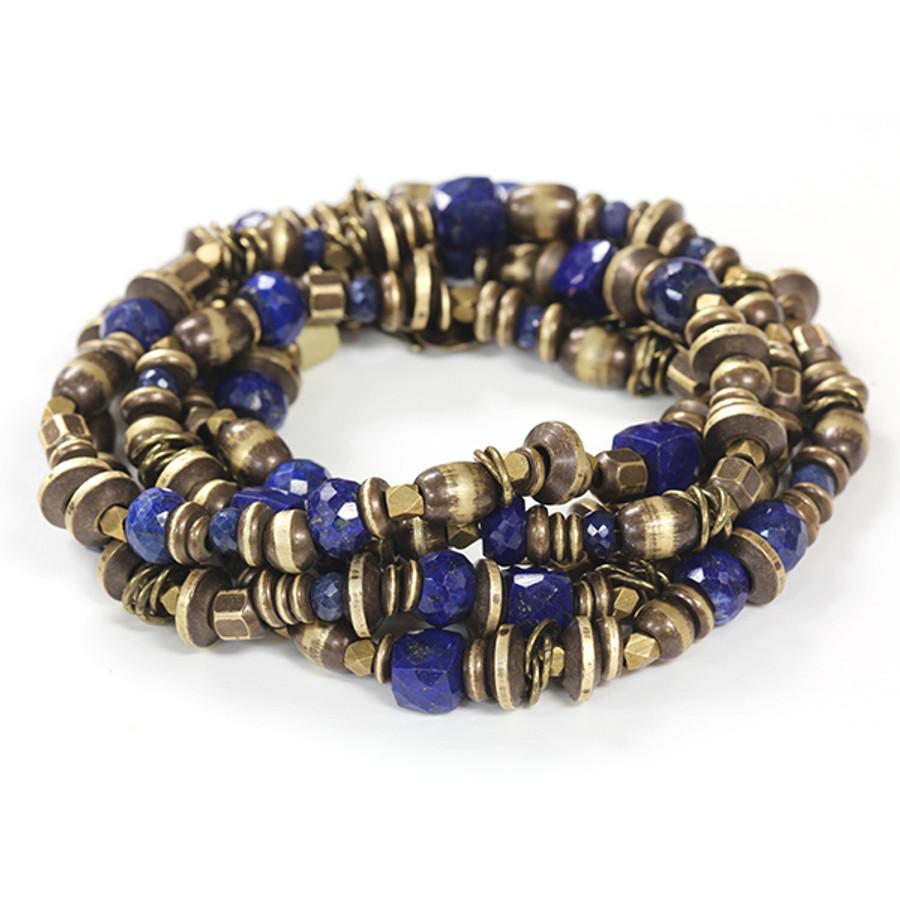 Brass & Lapis Bracelet/Necklace