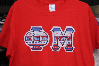Large  Phi Mu Red Letter Tee (ready to ship)