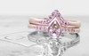 Pear Champagne Diamond Wedding Set in Rose Gold