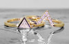 Trillion Solitaire Wedding Set in Yellow Gold
