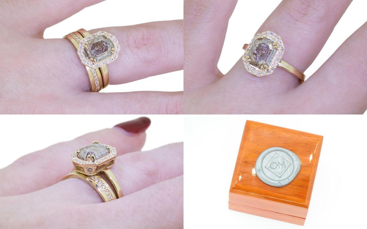 KATLA Ring in Yellow Gold with 1.17 Carat Smoky Gray Diamond