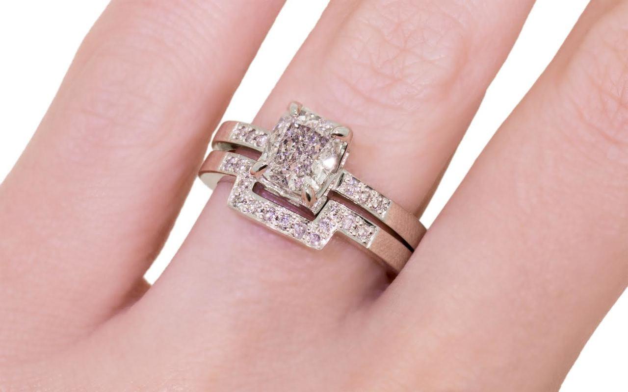 1.50 Carat Silver Diamond Wedding Set in White Gold