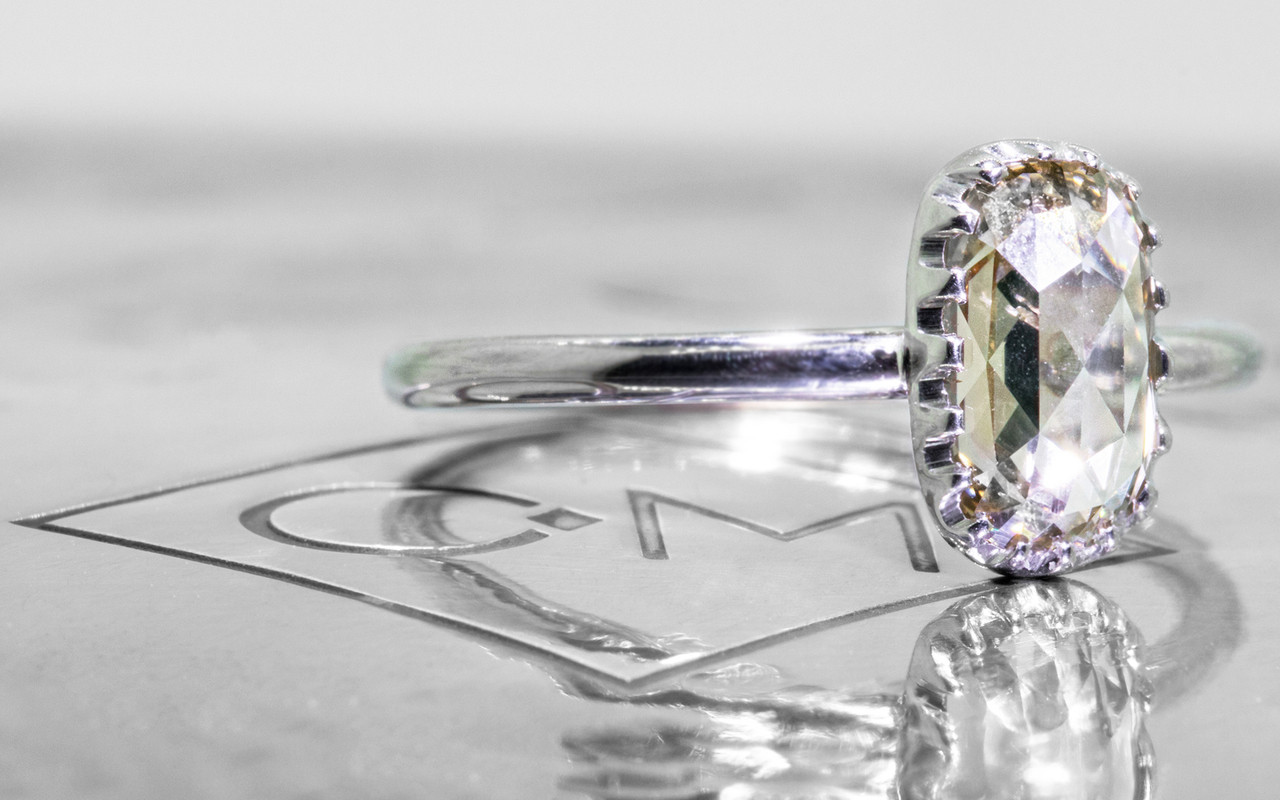 1.07 Carat Light Champagne Diamond Ring in White Gold