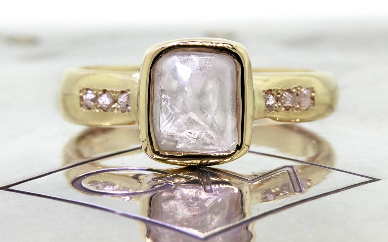 2.47 Carat Rough Gray Diamond Ring in Yellow Gold
