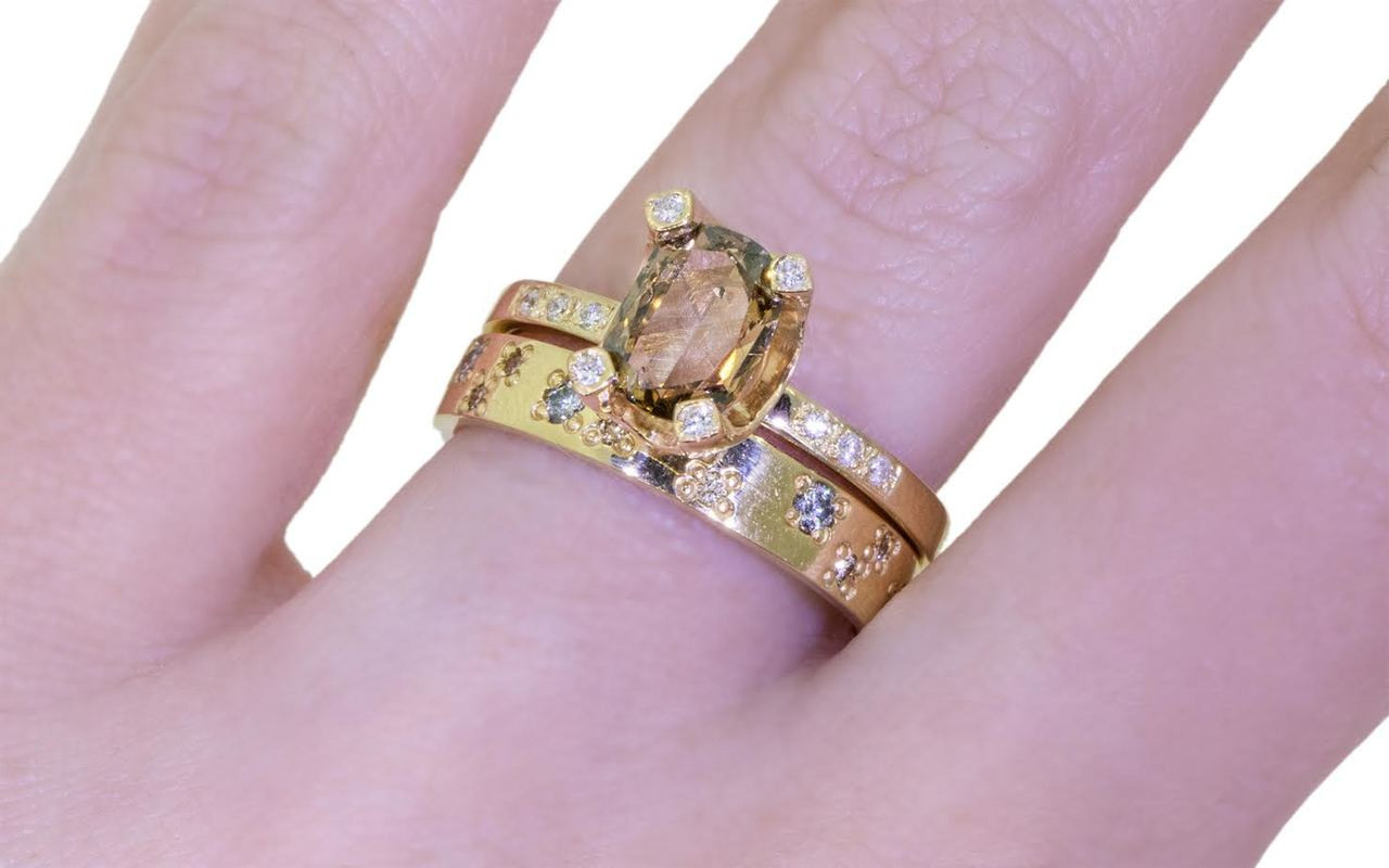 .92 Carat Champagne Diamond Ring in Yellow Gold