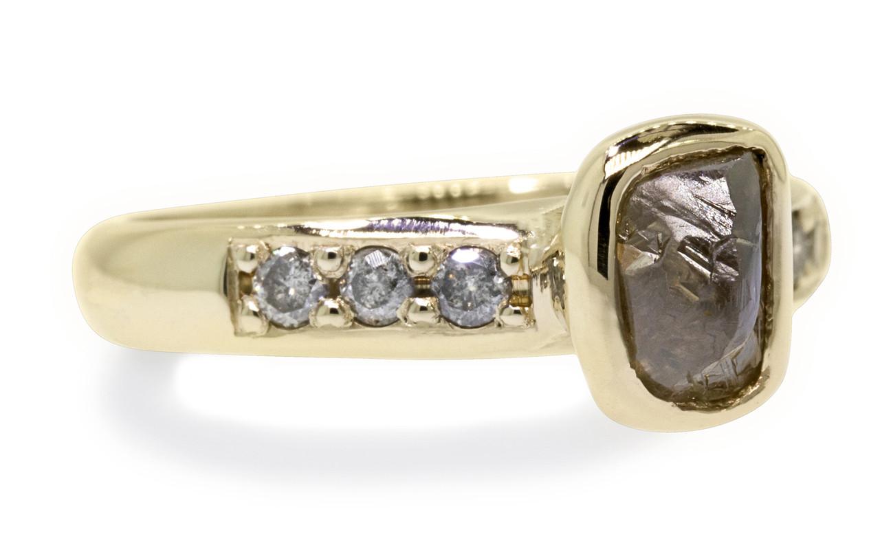 1.79 Carat Rough Cocoa Diamond Ring in Yellow Gold