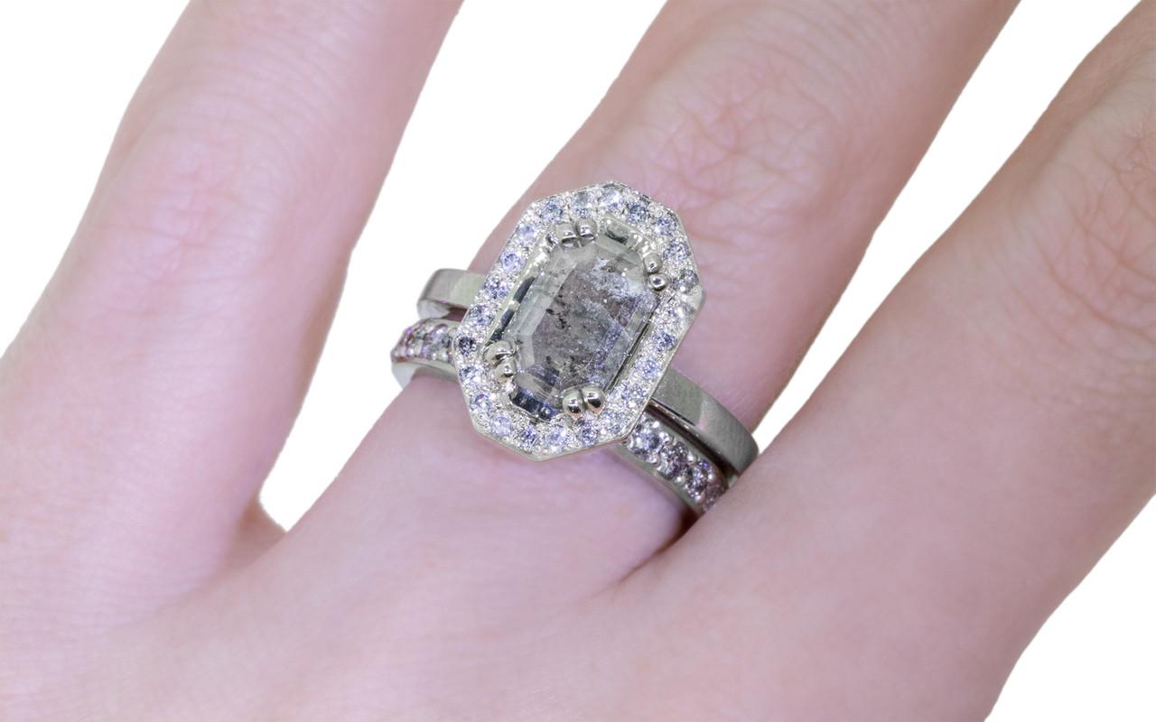 Wedding Band with 16 Gray Pave 2mm Diamonds