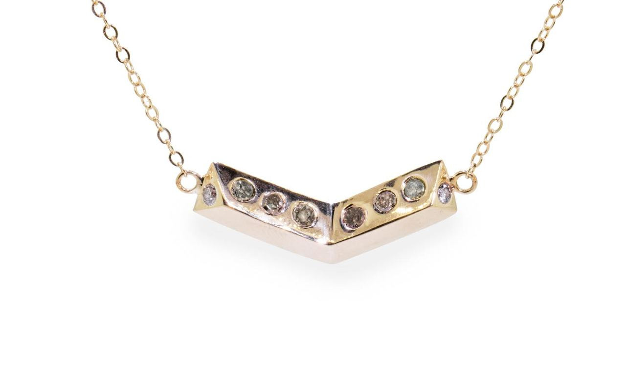 Diamond Chevron Necklace in Yellow Gold
