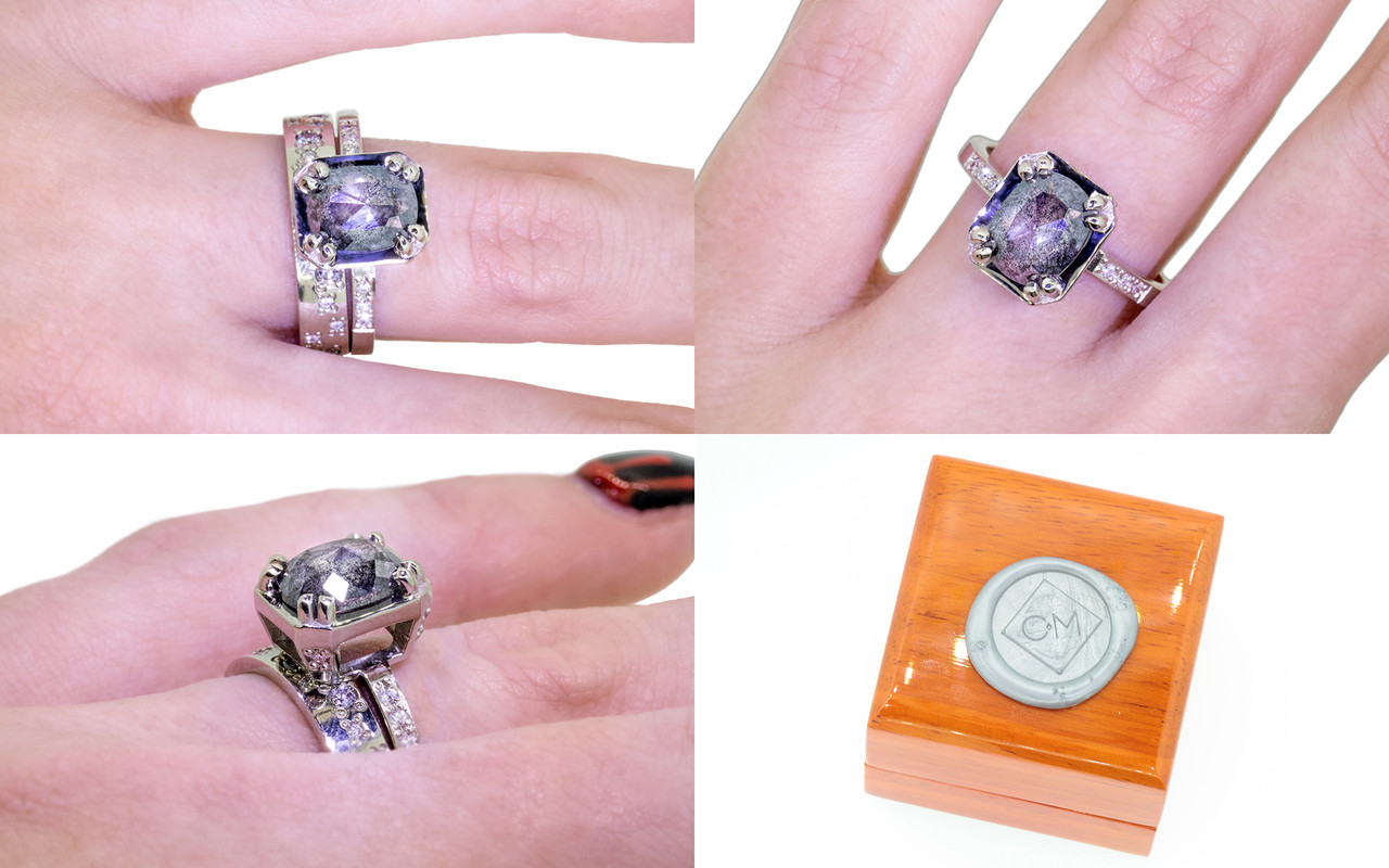 MAROA Ring in White Gold with 1.66 Carat Salt and Pepper Diamond