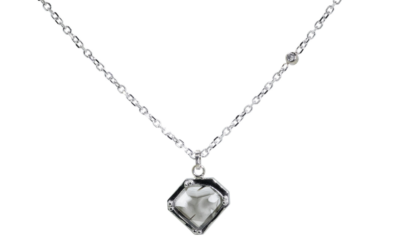 EDZIZA Necklace in White Gold with .93 Carat Salt and Pepper Diamond Slice