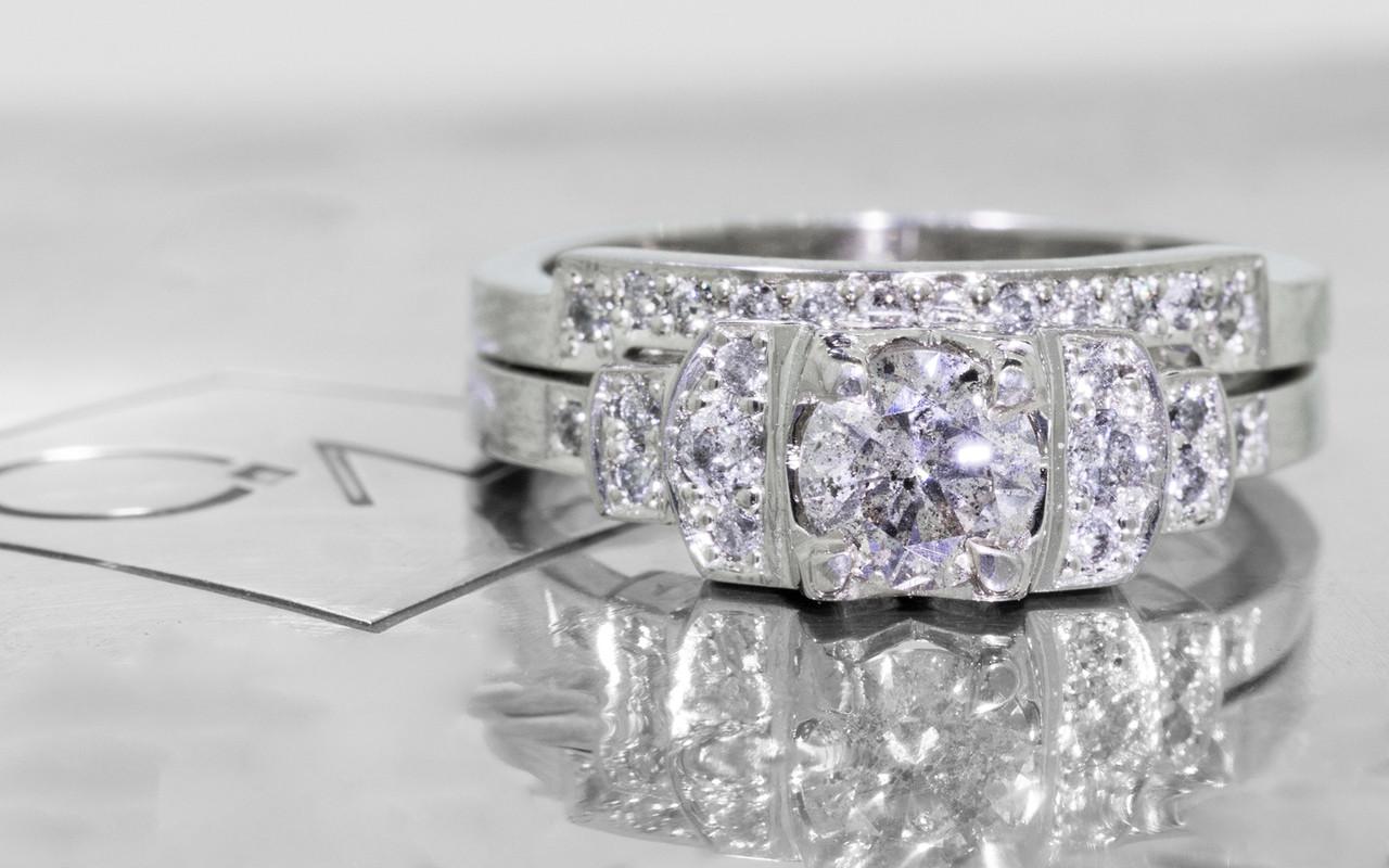 .56 Carat Salt and Pepper Diamond Wedding Set in White Gold