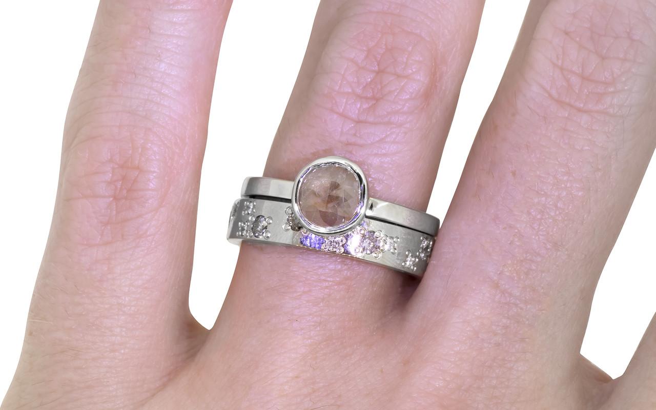 .61 Carat Rosey Pink Diamond Ring in White Gold
