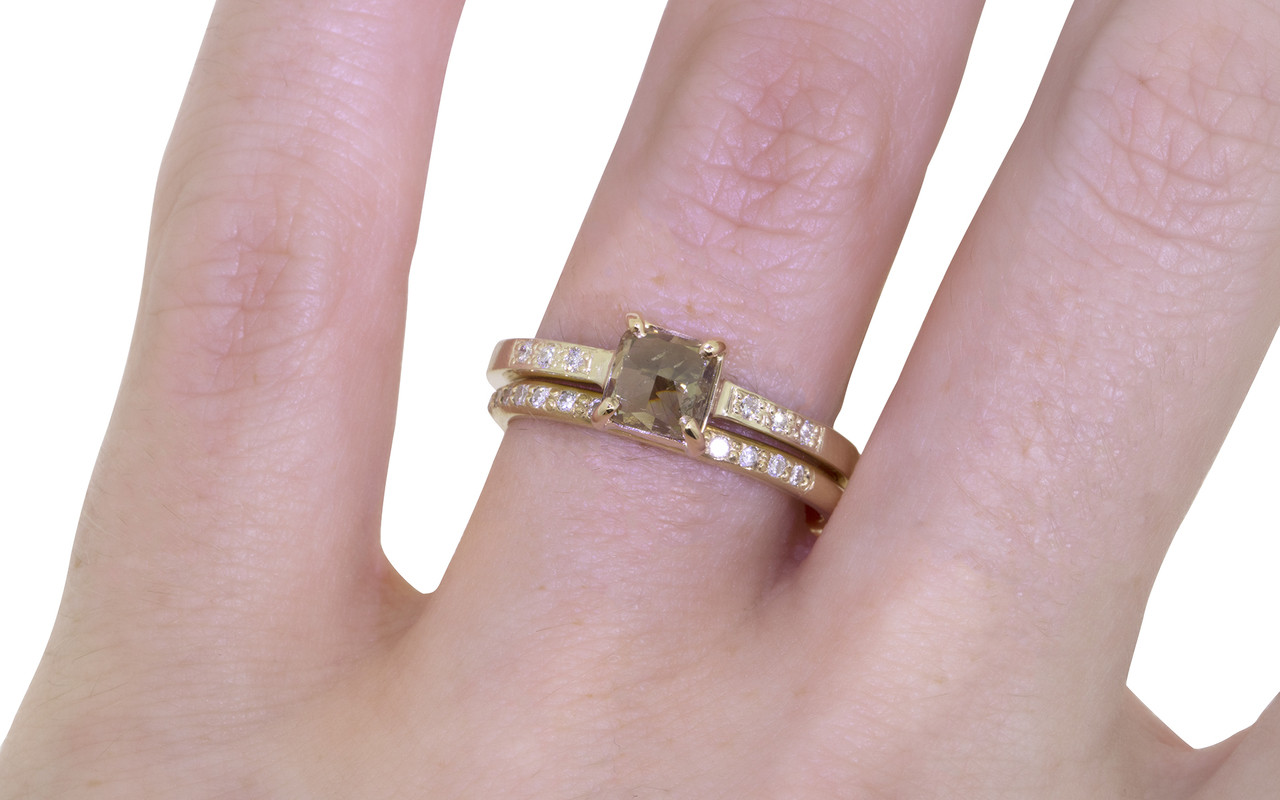 .75 Carat Champagne Diamond Ring in Yellow Gold