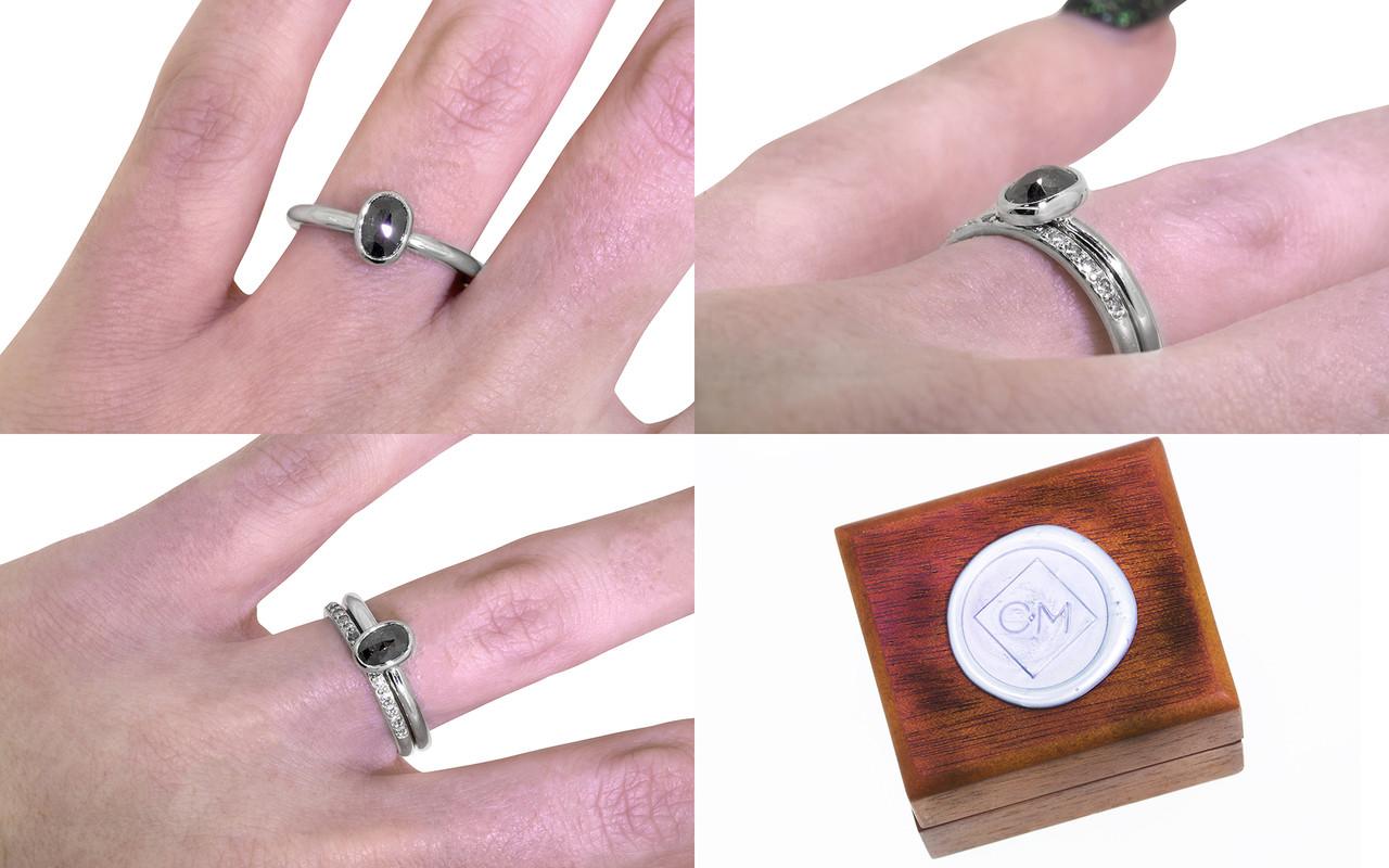 .57 Carat Natural Black Diamond Ring in White Gold