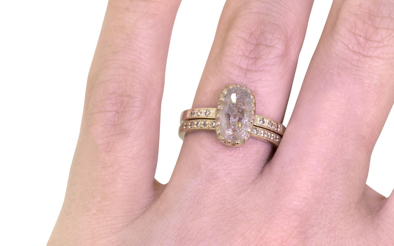 1.46 Peachy White Diamond Ring in Yellow Gold