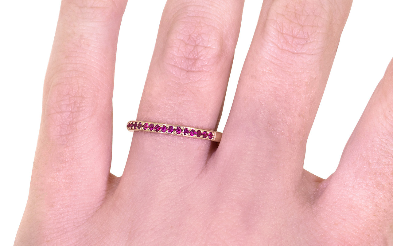 Wedding Band with 16 Rubies