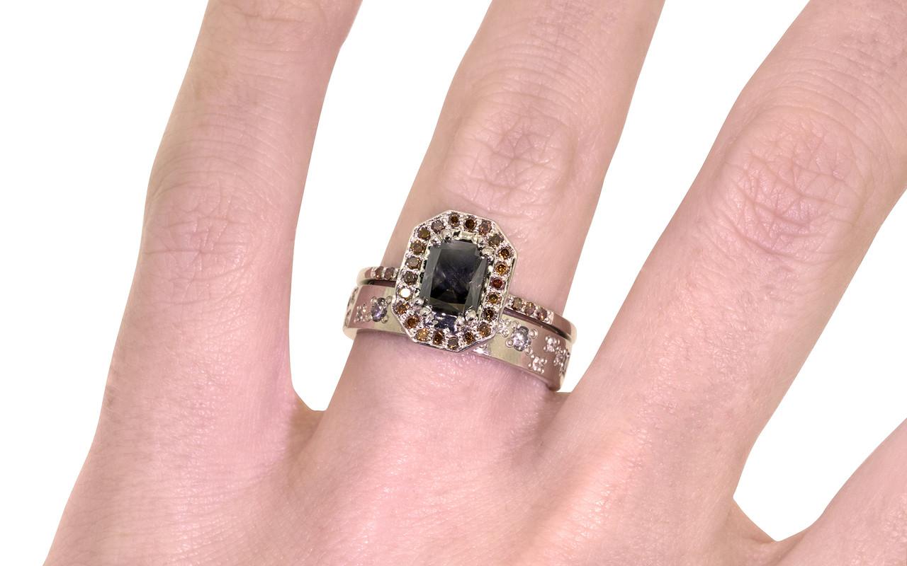 KATLA Ring White Gold with .98 Carat Dark Cocoa Diamond