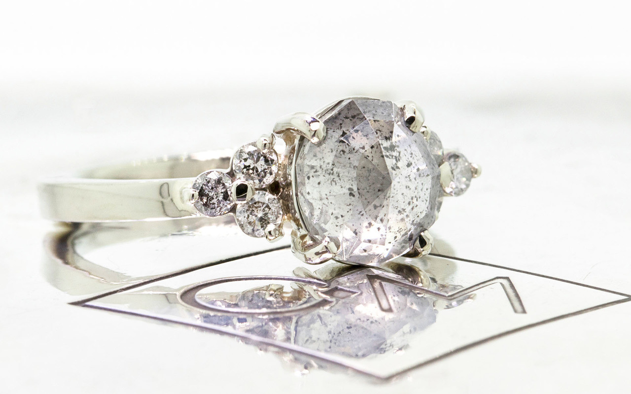 1.61 Carat Salt and Pepper Diamond Ring in White Gold