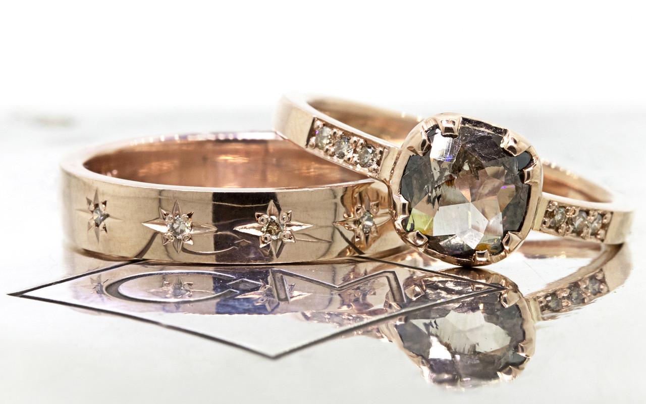 CM Star Wedding Band with Champagne Diamonds
