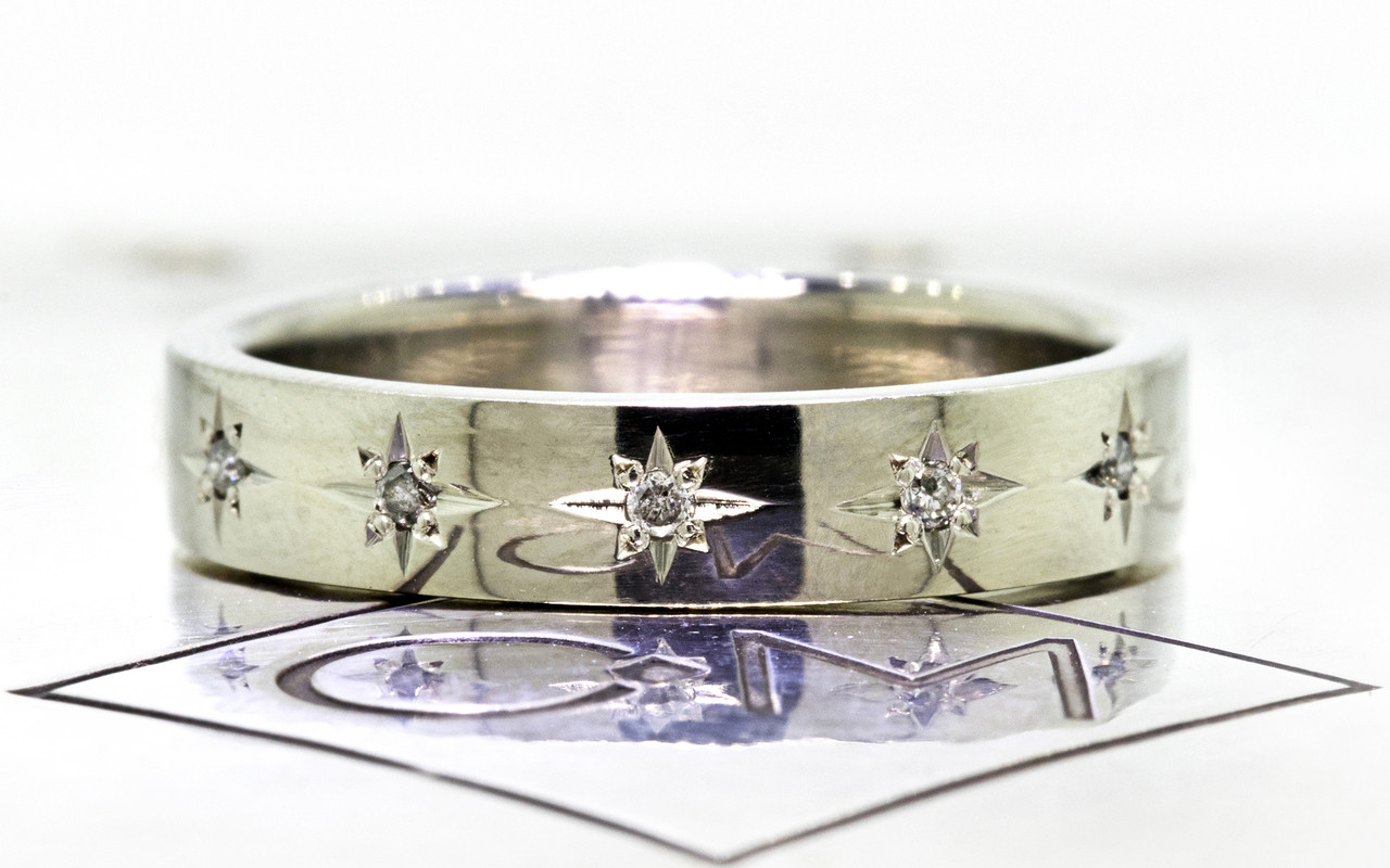 CM Star Wedding Band with Gray Diamonds