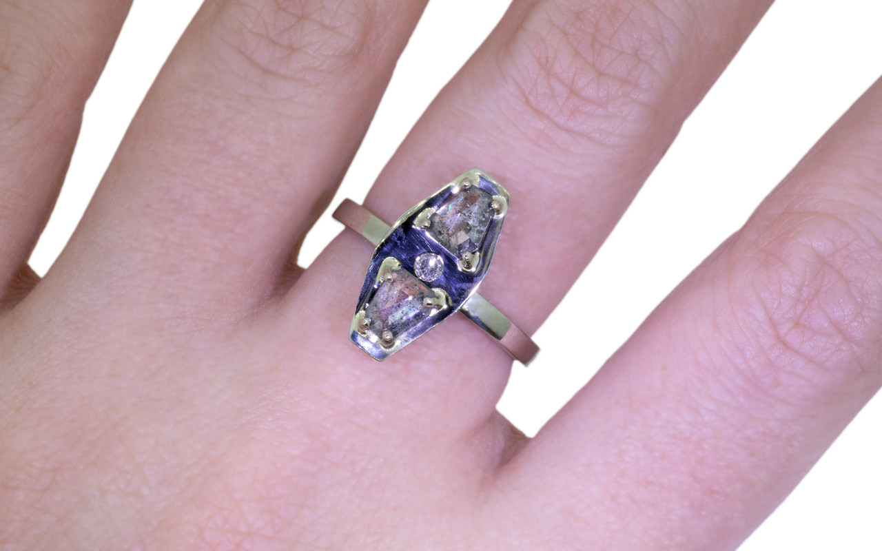 TOBA Ring in White Gold with .73 Carat Salt and Pepper Diamonds ...