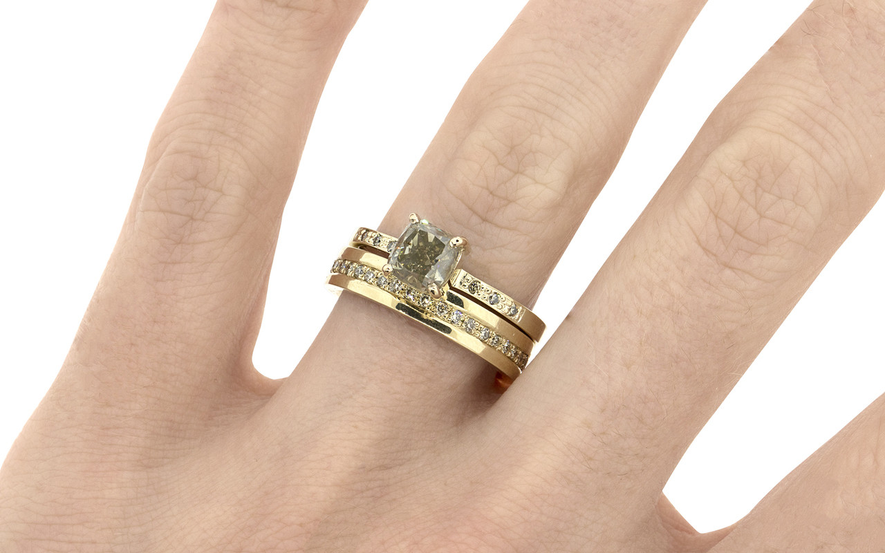 1.42 Carat Champagne Diamond Ring in Yellow Gold