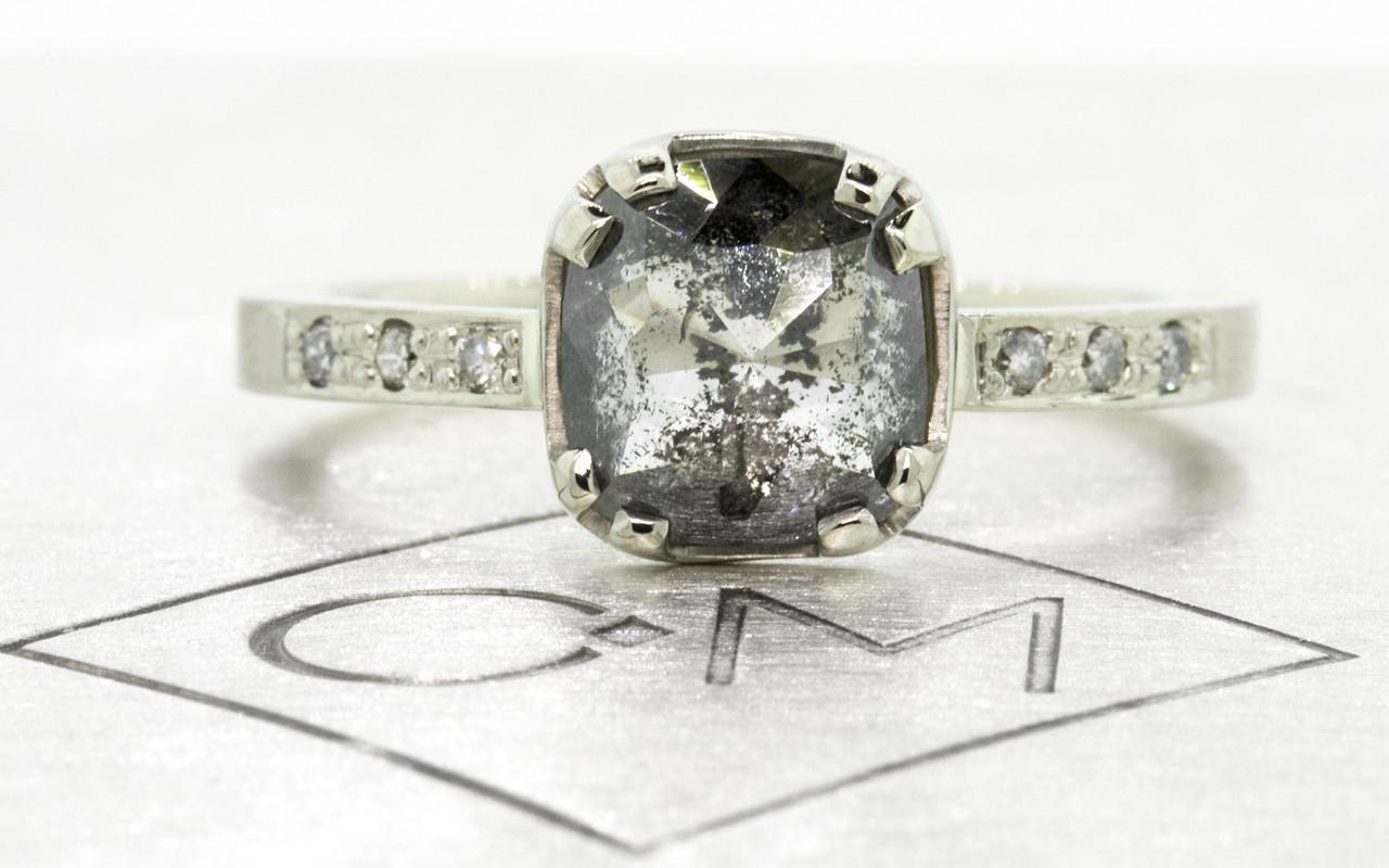 1.62 Carat Salt and Pepper Diamond Ring in White Gold