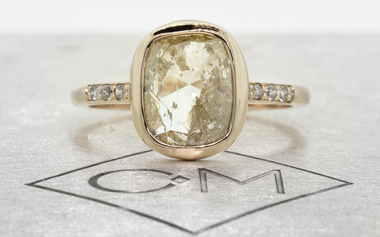 2.91 Carat Champagne/White Diamond Ring in Yellow Gold