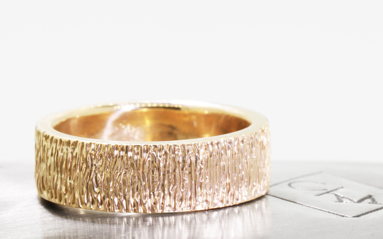 Men's Hand Carved Gold Textured Wedding Band