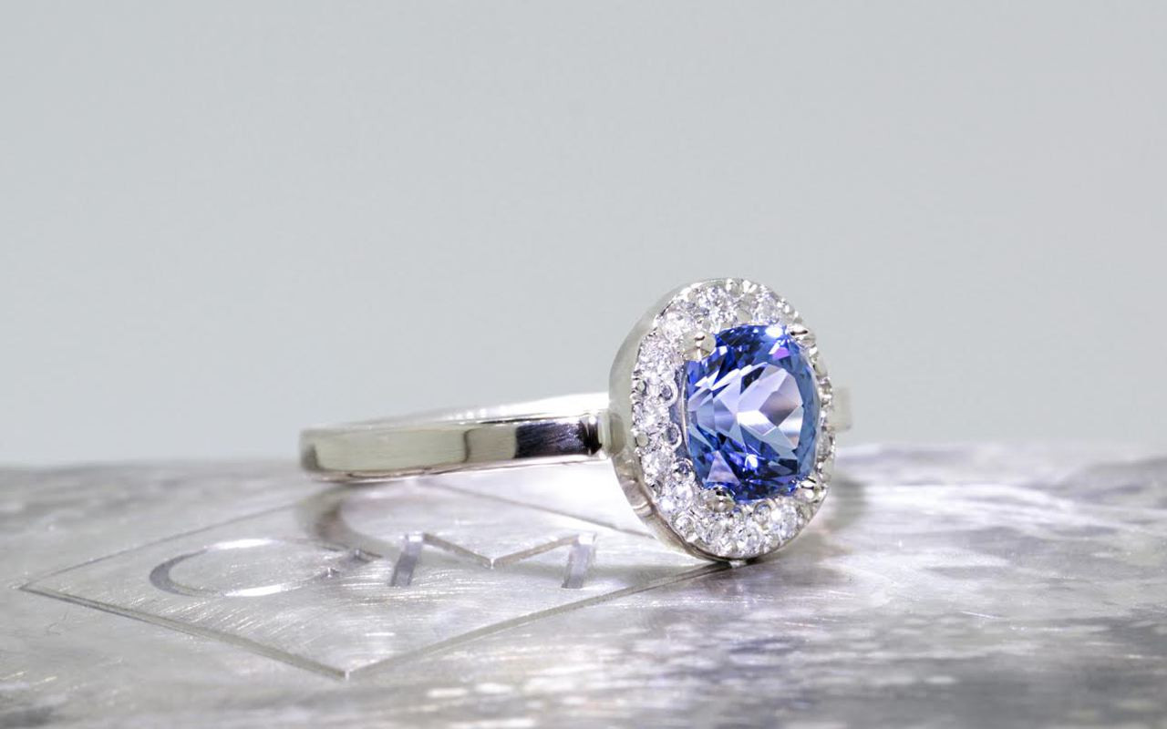 RESERVED- 1.11 Carat GIA Ceylon Sapphire Ring with Diamond Halo