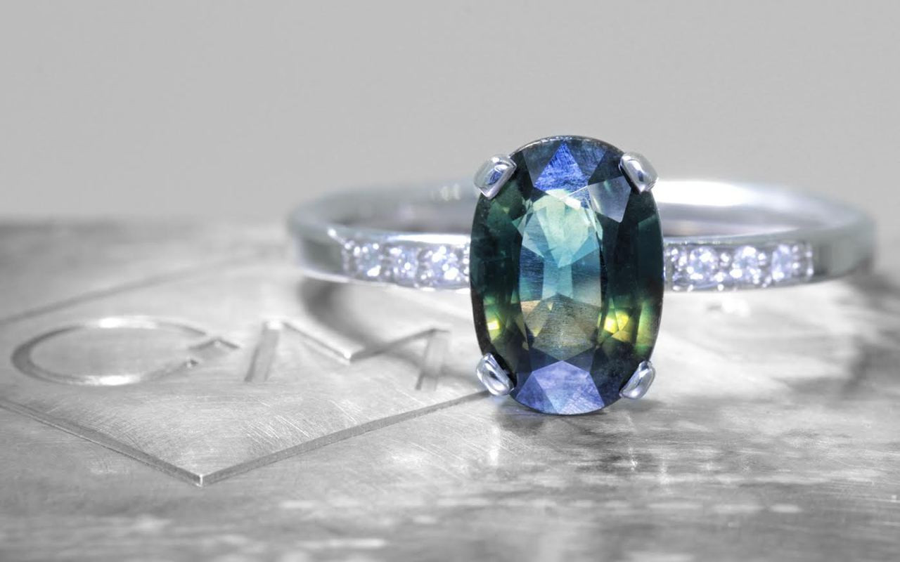 2.24 Carat Multi-Colored Sapphire Ring in White Gold