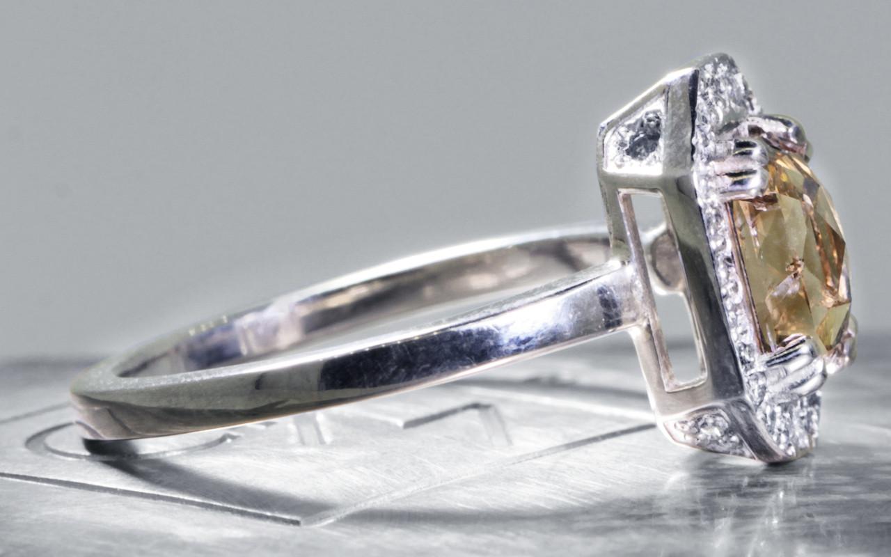 KATLA Ring in White Gold with 1.03 Carat Champagne Diamond