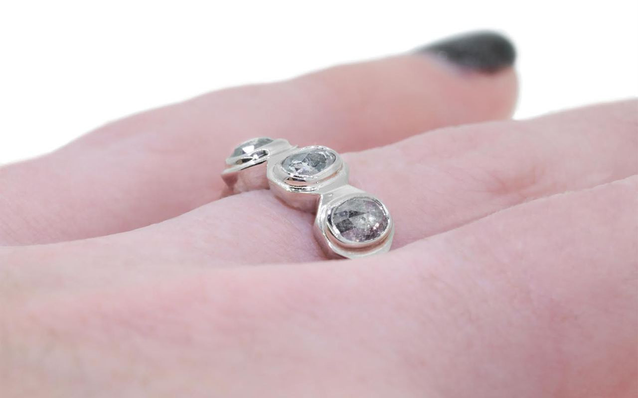TAAL Ring in White Gold with .86 Carat Salt and Pepper Diamonds