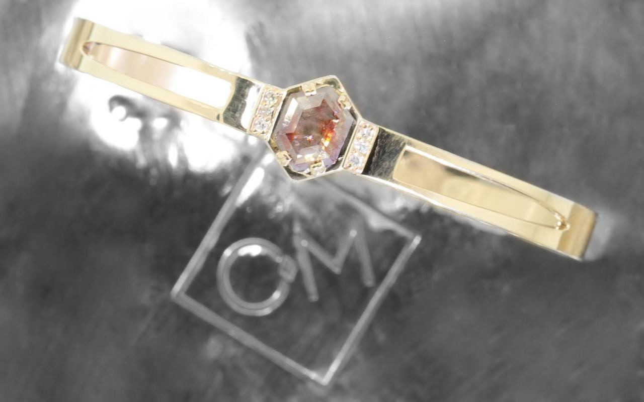 MERU Bracelet in Yellow Gold with .61 Carat Gray and Rust Diamond