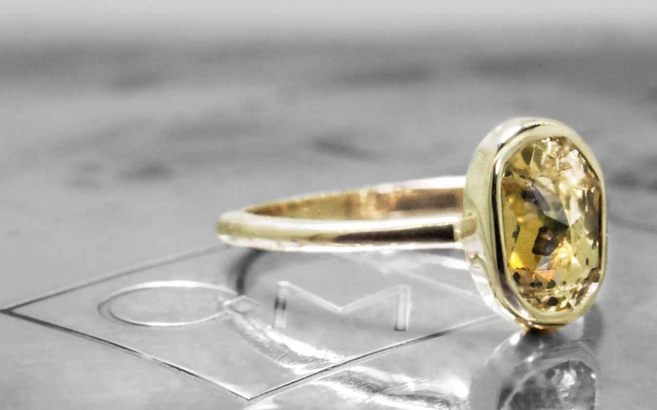 2.23 Carat Champagne and Pepper Diamond Ring in Yellow Gold