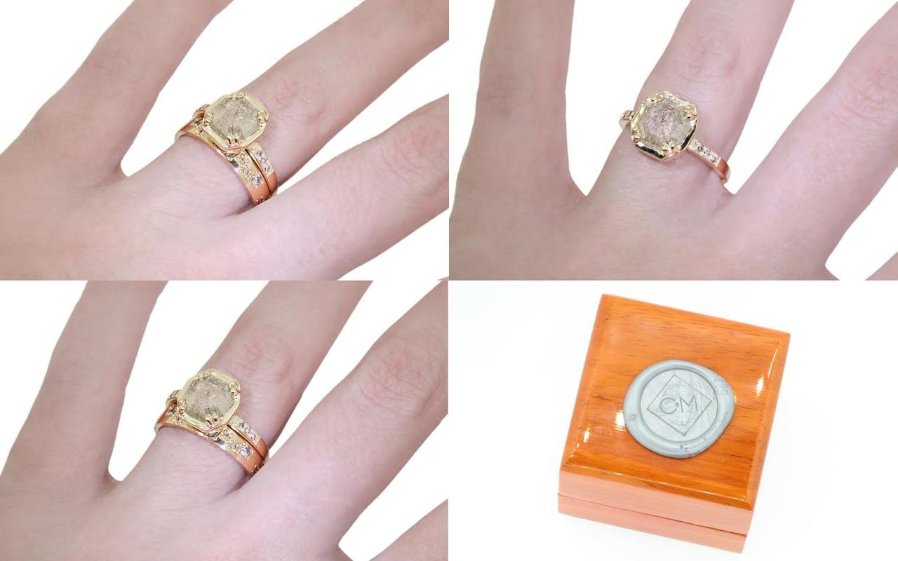 AIRA Ring in Yellow Gold with 1.15 Carat Light Gray Diamond