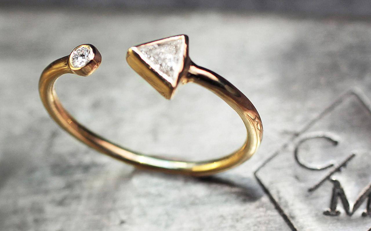 White Diamond Trillion Open Cuff Ring